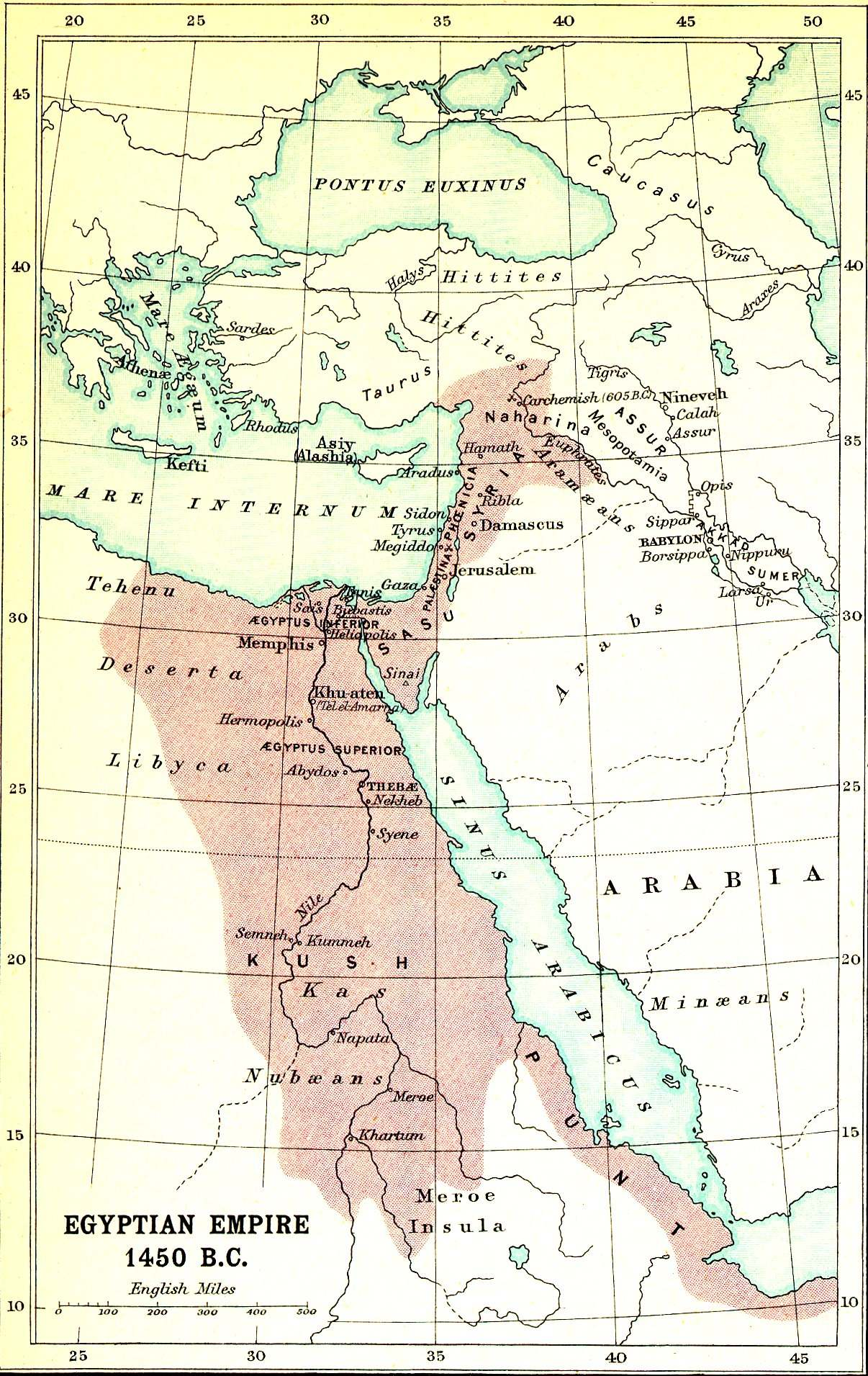 Smith Bible Atlas - Map of egypt in 1450 bc